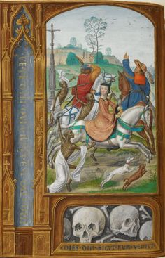 British Library, Add MS 35313, f. 158v (the Three Living and the Three Dead). Book of Hours, known as the 'London Rothschild Hours' or the 'Hours of Joanna I of Castile. c.1500