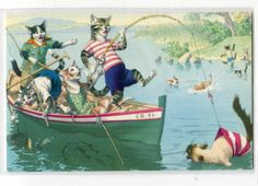 Fishing Mainzer dressed cats Postcard no. by sharonfostervintage, $6.00