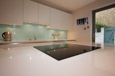 Aqua glass kitchen splashback