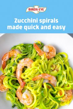 Elevate mealtime with a new dish with a twist, like Zucchini Spirals with Lemon Garlic Shrimp. Delicious and easy to make, these zucchini noodles cook perfectly in minutes! Vegetarian Recipes Easy, Clean Recipes, Organic Recipes, Healthy Recipes, Healthy Vegetables, Veggies, Zuchinni Recipes, Fresco, Garlic Shrimp