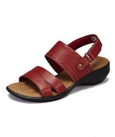 Walking Cradles Women's Lake-2 Red Leather Sandal ** Click on the image for additional details.