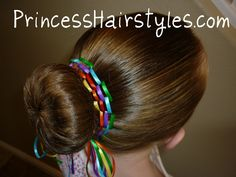 Ribbon rainbow bun.  Cute for St. Patrick's day.