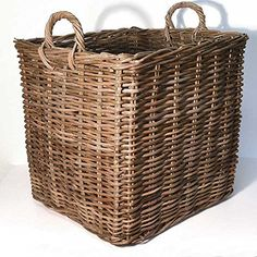 An indoor log store is a good idea because it keeps any mess from the logs all in one place, keeping your the focal point of your room, the fireplace clean and tidy.  Natural wicker log basket with carry handle for ease of transportation Approximate dimensions: W 50 x D 50 x H 50cm Brown in colour for a more traditional style A stylish and contemporary accessory to transport and store logs indoors