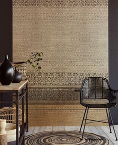 This printed stripe mural will make a perfect feature wall. The brown and tan earth toned color palette subdues the eclectic print. Burnt Umber Tapestry Mural comes on 3 panels. Tapestry Wallpaper, Home Wallpaper, Wall Tapestry, Bohemian Wallpaper, Wall Paint Treatments, Interior Design Living Room, Interior Decorating, Casamance, Style Ethnique
