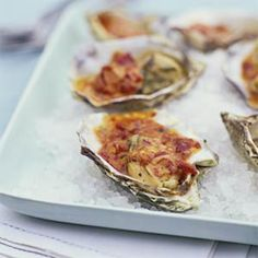 Grilled Oysters with Chipotle Glaze & Other Grilled Seafood Appetizers Grilled Oysters, Grilled Seafood, Seafood Appetizers, Grilled Fish, Seafood Dishes, Fish And Seafood, Seafood Menu, Spicy Dishes, Spicy Recipes