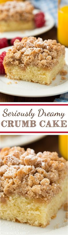 Crumb Cake - this is my FAVORITE breakfast cake! It has tons of cinnamony crumbs and the cake is so soft and moist. Delicious Cake for holiday Baking Recipes, Cake Recipes, Dessert Recipes, Just Desserts, Delicious Desserts, Yummy Treats, Sweet Treats, Breakfast Cake, Snacks