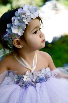 Ivory flower girl tutu dress with hydrangeas