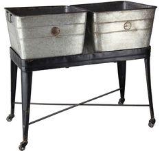 Double Wash Tub on Wheels | Rolling Metal Tub | Metal Wash Tub