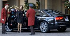 Maria Shriver valets her Audi A8 in Beverly HIlls.