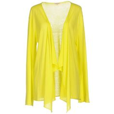 P.a.r.o.s.h. Cardigan ($140) ❤ liked on Polyvore featuring tops, cardigans, yellow, cardigan top, long sleeve cardigan, long sleeve tops, yellow cotton cardigan and cotton cardigan