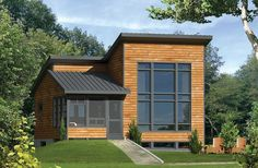 <ul><li>Coming in at 30' wide, this one bedroom Modern house plan is ideal as a vacation getaway.</li><li>A shed roof rises up to give you soaring ceilings and 2-story windows in the main living area.</li><li>A two-way fireplace warms both the bedroom and living room.</li><li>The compact kitchen keeps everything close at hand.</li><li>Another space-saving measure is locating the washer/dryer in the bathroom where the plumbing already exists.</li><li>A screened porch lets you relax and dine…