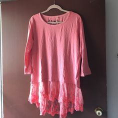 Anthropologie Dylan top, Size L Hot pink. 3 quarter length. Fits true to size. new without tags. ADORABLE! 100% cotton Anthropologie Tops Blouses