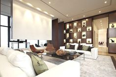 Contemporary Living Room - wall niches -  bright and open