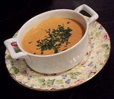 The picture doesn't look like much, but the recipe got nearly 5 out of 5 stars and is the recipe used in another pin I posted today.  In that picture it looks amazing!  Lobster Bisque. Photo by BarbryT