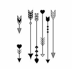 Arrow design with hearts