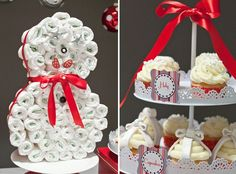 """Christmas theme baby shower cakes white and red. With this winter storm we are having today, this might be the """"diaper cake"""" design for Saturday, lol!"""