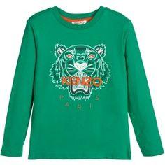 Kenzo - Boys Green Cotton 'Tiger' T-Shirt | Childrensalon