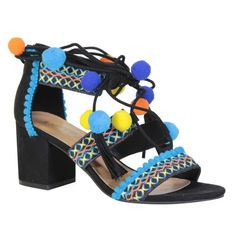 Strappy Pompom Block Heel Sandals