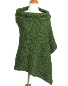Womens Poncho Crochet Cowl Neck Olive Green Cape by knitwhats