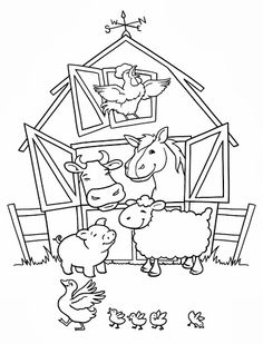Coloring Farm Animal Pages For Kids And Page Pigs Napping Chicken Prints