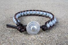 black spot feldspar beaded leather wrap bracelet gray black brown leather beaded leather wrap bracelet unisex guys or girls on Etsy, $18.00