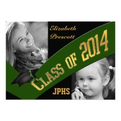 Class of 2014 Graduation Two Photo - Dk Green Gold Invitation  #2014graduation #classof2014 #graduationphotoinvitations #2014grads #graduationinvitations #graduationannouncements