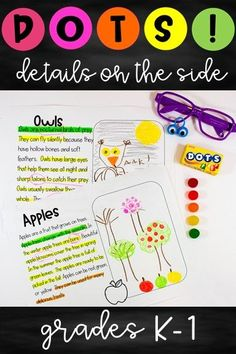 Close Reading with DOTS - Details on the Side is a great way to teach your students how to annotate a text. Students can mark up the text and draw pictures and notes on the side to show their thinking. This resource includes 5 passages for Fall (apples, pumpkins, bats, spiders, owls), a chant about reading, a DOTS poster with a color-coded method for annotating the text, and comprehension questions.