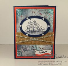 Playing with Papercrafting: As You See It Nautical Collage, #theopensea, #collagestamping, #sailorknot, #Stampin'Up!, #heathercooper http://www.playingwithpapercrafting.com/2014/05/as-you-see-it-nautical-collage.html