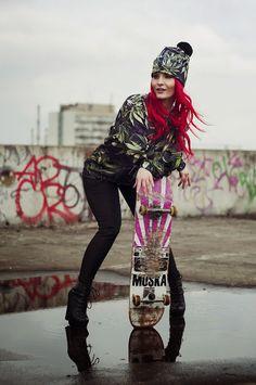 Skate girl! Sweatshirt and Beanie by Brain Wash Clothing