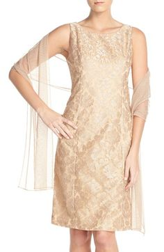 Alex Evenings Embroidered Mesh A-Line Dress & Shawl (Regular & Petite) available at #Nordstrom
