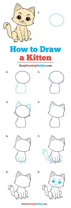 How to Draw Kitten - Really Easy Drawing Tutorial - drawing - Katzen Easy Drawing Tutorial, Kitten Drawing, Cat Steps, How To Draw Steps, How To Draw Cats, Drawing Tutorials For Beginners, Pencil Drawings For Beginners, Drawing For Kids, Drawing Ideas