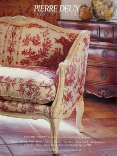 Gorgeous French Country Toile Furniture Meubel Idee Atilde Laquo N Interieur French Interior, French Decor, French Country Decorating, Home Interior, Nordic Interior, French Country Bedrooms, French Country Cottage, French Country Style, Rustic Cottage