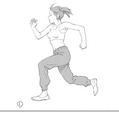"""as-warm-as-choco:  Running back in time to avoid the Legend of Korra finale  Animated frames of the """"Tojin Kit"""" protagonist running by Tatsuyuki Tanaka (田中 達之). Included inStudio 4°C's anthology of animated shorts """"Genius Party Beyond""""."""