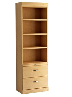 Shaker Style Bookcase with Bottom Drawers in Oak - Honey Finish.