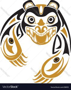 Tribal bear vector 26832 - by renreeser on VectorStock® Haida Kunst, Inuit Kunst, Arte Haida, Haida Art, Inuit Art, Haida Tattoo, 1 Tattoo, Native American Totem, Native American Symbols