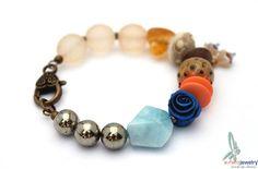 Dahlia  multicolor mixed media bracelet with by esferajewelry