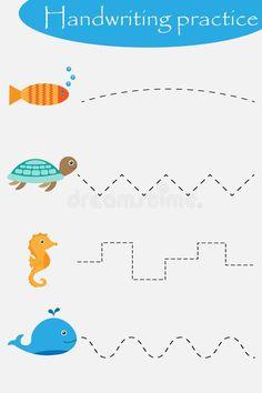 Ocean And Sea Animals Wheel, Fish, Turtle, Seahorse, Handwriting Practice Sheet, Kids Preschool Activity, Educational Children Stock Illustration - Illustration of activity, play: 136807926