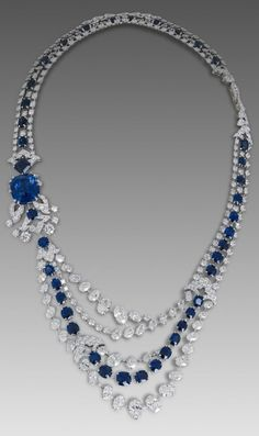 David Morris Sapphire necklace with 46ct cushion-cut Burma sapphire and oval diamonds