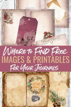 Where to find free junk journal printables, junk journal images and junk journal ephemera for your next junk journal. A collection of public domain image sources, resource libraries and more! Junk Journal, Journal Paper, Journal Cards, Life Journal, Journal Prompts, Printable Scrapbook Paper, Printable Paper, Image Sources, Art Journal Techniques