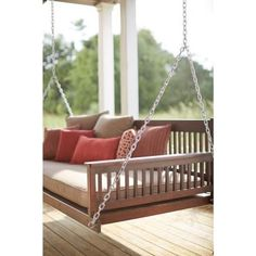 Plantation 2-Person Daybed Wooden Porch Patio Swing-854DBSTF-RTA - The Home Depot