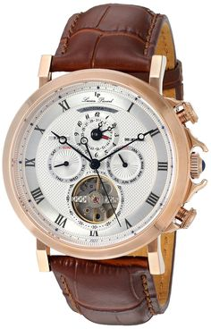Lucien Piccard Men's 'Acropolis' Stainless Steel and Leather Automatic Watch, Color:Brown (Model: LP-40021A-RG-02S-BRW) *** Check out the watch by visiting the link.