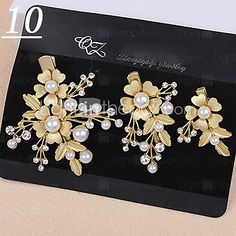 Lady's Baroque Style Gold Leaf Olive Crystal Pearl Barrette Clip Hair Jewelry for Wedding Party (Set of 3) - CAD $6.24