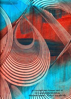 """(Uploaded by the artist) """"Rust Turquoise Swirl"""" by Jean Kropper of… Hope Art, Paper Collage Art, Painted Paper, Gravure, Paper Decorations, Book Making, Past, Abstract Art, Digital Art"""