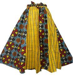 Decoraapparel African Clothing Women Girl Wax Print Long Wide Flared Ankara Elastic Waist Maxi Skirt Plus Size Belt Pocket (Red One Size) Vintage Skirt, Vintage Tops, Ankara Skirt, African Skirt, Elastic Waist Skirt, Bubble Skirt, Long Skirts For Women, Dashiki, Cotton Skirt