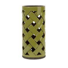 "13 5"" Avocado Green Crackle Finished Woven Ceramic Pillar Candle Holder Lantern | eBay"