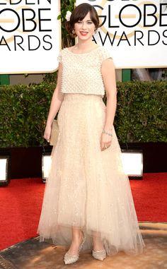 Zooey Deschanel from Best Dressed at the 2014 Golden Globe Awards | E! Online @Jordan Elizabeth Zooey Deschanel can do no wrong