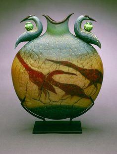 "Reliquary Vessel ~ William Morris  1998  18""x15""x5""  Blown glass, steel stand"
