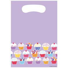 Sweet Cupcake Plastic Loot Bags/Case of 96