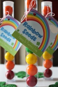 """""""Rainbow Seeds"""" St Patrick's Day gift tags..just add rainbow colored candy for a fun treat!"""