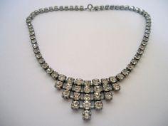 Vintage 1950's Clear Stepped Diamanté Rhinestone Necklace ~ Quality Piece